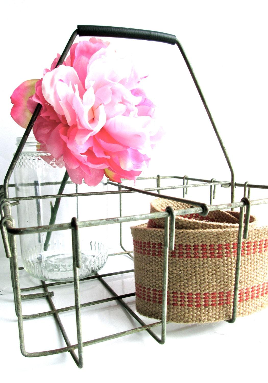 vintage milk bottle carrier metal basket rustic wedding decor. Black Bedroom Furniture Sets. Home Design Ideas