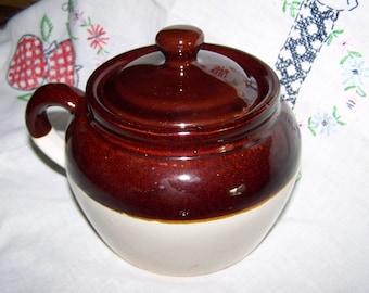 Bean Pot Brown Crock One Handle Bean Pot Rustic Bean Pot
