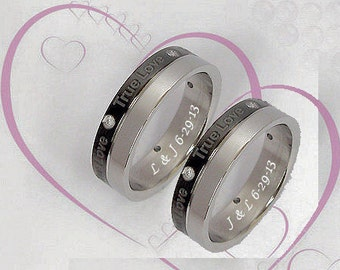 Personalized True Love Couple's Ring Set Custom Engraved Free, Promise Ring