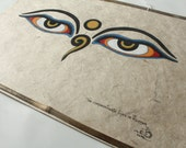 Wall Hanging The Compassionate Eyes of Buddha  Handmade Lokta Paper