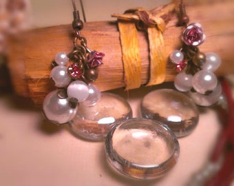Pearl and Rose cluster earrings