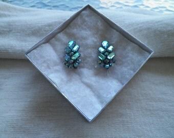 Aurora Borealis Clip On Earrings
