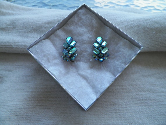 Aurora Borealis Clip On Earrings