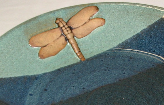 Plate / Platter with Dragonfly Wheel Thrown Stoneware Pottery