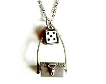 Dice Box Locket Steampunk Lucky Stash Box Necklace Handmade Gift