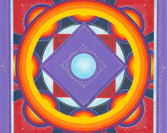 "Orange, purple, and red mandala - 11x11"" Giclee Print"