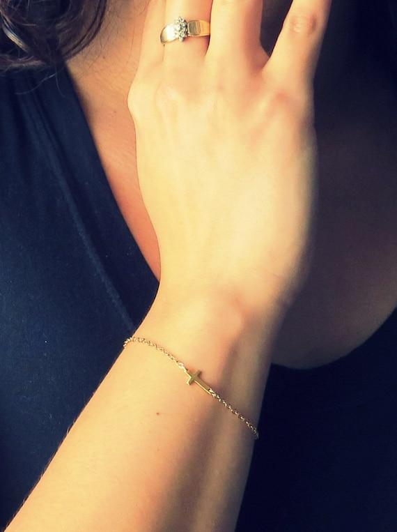 Sideways Cross Bracelet Gold Gold Sideways Cross Bracelet