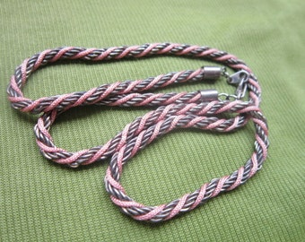 Pretty Braided Chain & Pink Cord Necklace Vintage