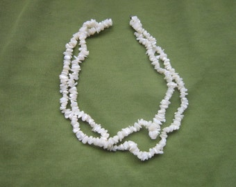 Vintage Double Strand Natural Mother of Pearl Necklace Pretty