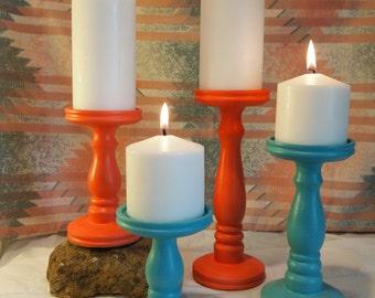 Southwestern Combo Pillar Candle Holders - Set of 4