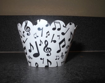 Music Note Cupcake Wrapper  Set of 12