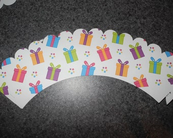Birthday Present Cupcake Wrappers  Set of 12