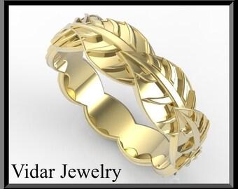 Wedding Band,Wedding Ring,Gold Wedding Band,For her,14k gold Leafs Wedding Band,Unique Wedding Band,Leaves Wedding ring.