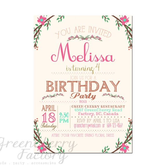 Items Similar To Hand Writing Birthday Invitation