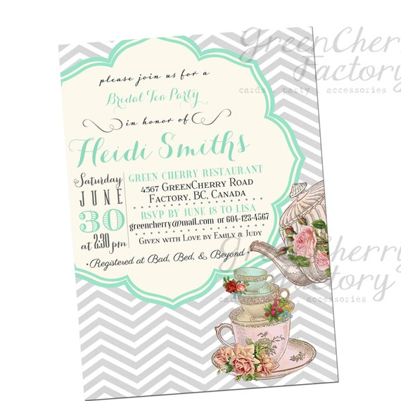 bridal shower tea party invitation baby shower tea party invitation