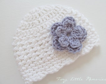 Baby Girl Flower Hat, Crochet Hat with Flower, White and Purple Girl Hat, COLOR of your CHOICE, Baby/Toddler Girl - Newborn, Up to 12 Months