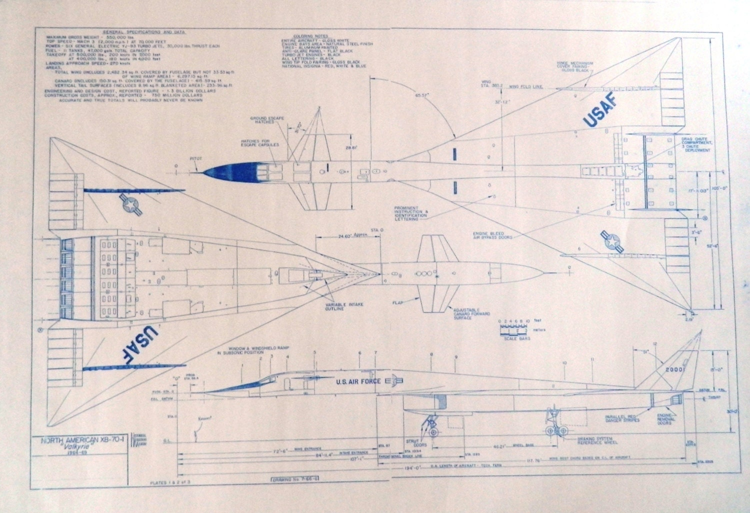 North American Xb 70 Valkyrie Blueprint By Blueprintplace