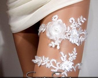 Wedding Garter, Bridal Garter, Floral Garter, Flower Garter, Lace Garter, Wedding Keepsake, Toss Garter, Rhinestone Garter GT003