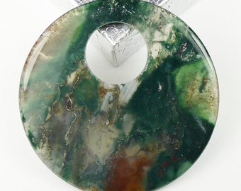 BEAUTIFUL Moss Agate Round Pendant Bead - 52x4mm