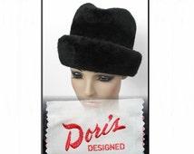Vintage 1970s Hat Black Designer Garden Party Mad Man Rockabilly Designer Dress Retro femme fatale