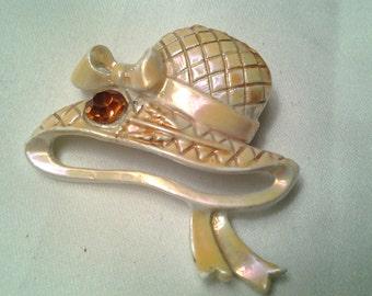 vintage costume jewelry brooch pin enamel hat stunning