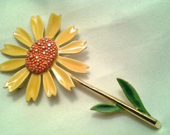 vintage costume jewelry brooch pin enamel flower