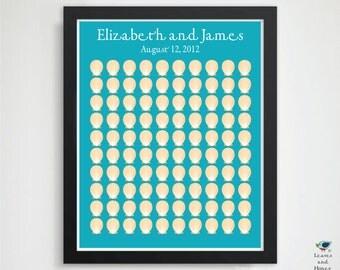 Vibrant Shells - Unique Wedding Beach Guest Book - Clam / Scallop Shell - Destinationl Wedding / Bridal / Engagement Gift - 100 Guest 16x20