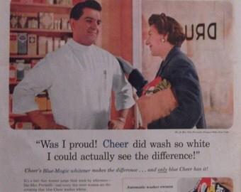 CHEER LAUNDRY SOAP Original Vintage Magazine Ad Washing Machine Soap Laundry Room Decor Ready To Frame