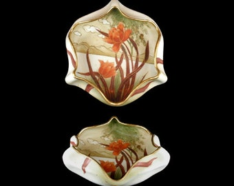 Antique Nippon Handpainted Scalloped Floral Dish
