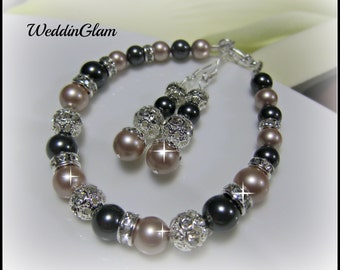 Swarovski Ivory Cream Silver Grey Pearl and Rhinestone Bridal Bracelet and Earring Set - Bride or Bridemaid Jewelry Set - Choose Your Color