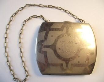 "Antique ""German Silver"" Monogrammed Wallet Purse"