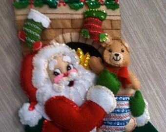 Stocking Stuffer Completed Handmade Felt Christmas Stocking from Bucilla Kit
