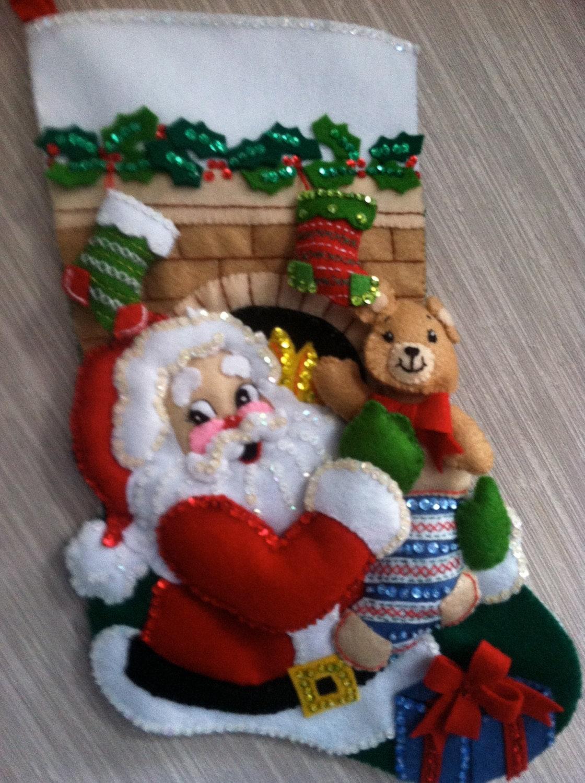 stocking stuffer completed handmade felt christmas stocking. Black Bedroom Furniture Sets. Home Design Ideas