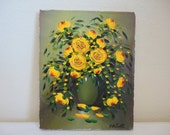 Vintage Flower Painting - Yellow Rose Bouquet on Vase