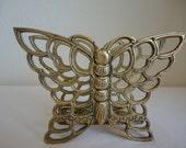 Vintage Brass Butterfly Napkin Holder / Letter Holder / Tabletop / Desk Item / Butterfly