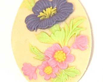 12 pcs of pink rose cameo 30x40mm -0404-multi color
