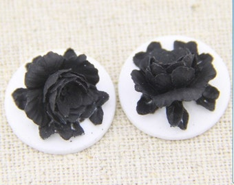 12 Pcs of Resin flower cabochon 18mm-RC0135-black  on  white