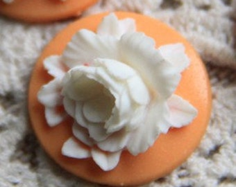 12 Pcs of Resin flower cabochon 18mm-RC0135-4-white on  orange