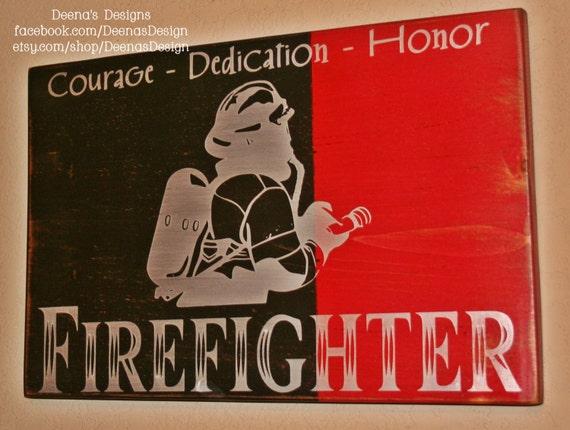 Firefighter Wall Art firefighter wall art firefighter decor distressed wall
