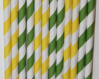 25  yellow green Stripe straws paper straws birthday party wedding cake pop sticks Bonus diy straw flags