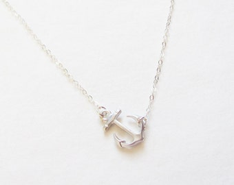 Silver Sideways Anchor Necklace - Sterling Silver Chain - Anchor Necklace - Anchor Charm Necklace