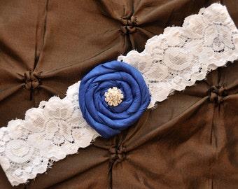 Wedding Garter, Blue Bridal Garter - White Lace Garter, Toss Garter, Rolled Silk Royal Blue, Something Blue, Royal Blue Garter Wedding
