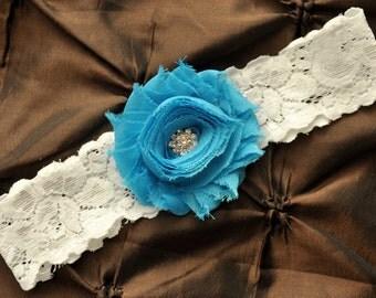 Wedding Garter, Bridal Garter - White Lace Garter, Toss Garter, Shabby Chiffon Turquoise Wedding Garter, Turquoise Garter, Something Blue