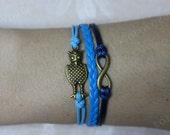 infinity owl bronze charm bracelet cute  owl bracelet cute gift for friends,GF BFF