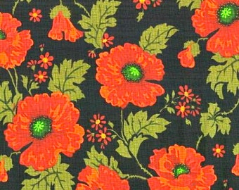 POSITIVELY POPPIES, Blank Quilting 6391, Red poppies on black background