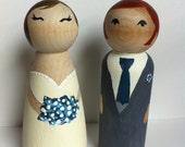 Wedding Cake Toppers - handpainted wooden figures, brunette bride, red head groom, blue theme