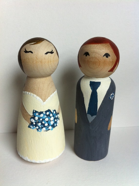 redhead wedding cake topper wedding cake toppers handpainted wooden figures 19127