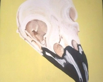 Crow Magpie Bird Skull Painting