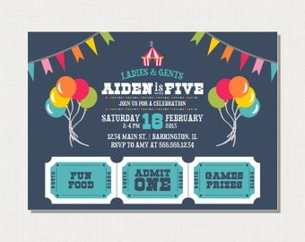 Circus or Carnival Birthday Invitation - Printable