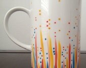 White Mug with Hand Painted Dotted and Lined Design